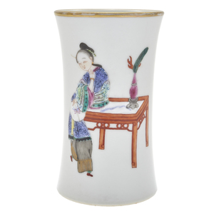Famille Rose Brush Pot, Daoguang Mark/Late Qing Dynasty