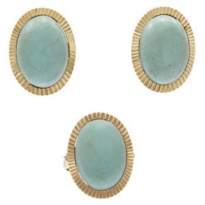 Variscite, 14k Yellow Gold Jewelry Set