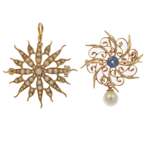 Collection of Two Victorian Sapphire, Pearl, 14k Pin Pendants