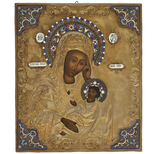 Antique Russian Icon Madonna and Child