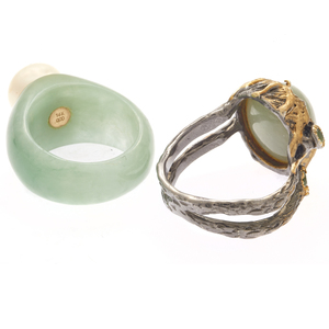 Collection of Two Jade, Fresh Water Pearl, 14k, Silver Rings
