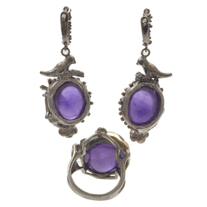 Amethyst, Sapphire, Blackened Silver Earrings and Ring Set