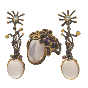 Rose Quartz, Amethyst, Topaz Earrings and Ring Set