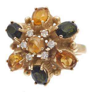 Diamond, Tourmaline, Citrine, 14k Flower Ring