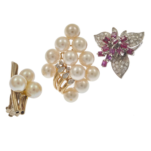 Collection of Diamond, Cultured Pearl, Gold Single Earrings