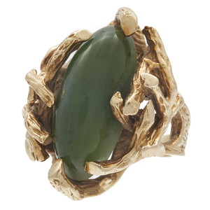 Nephrite, 14k Yellow Gold Ring