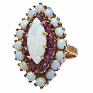 Opal, Ruby, 14k Rose Gold Ring