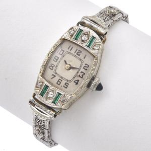 Ladies Art Deco Diamond, White Gold Wristwatch