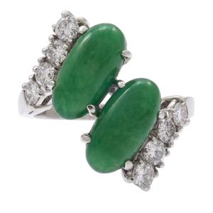 Jadeite, Diamond, Platinum Ring