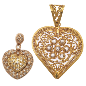 Two Diamond, Yellow Gold Heart Pendants