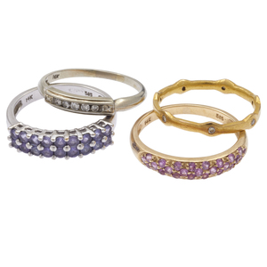 Collection of Diamond, Tanzanite, Pink Sapphire, Gold Rings