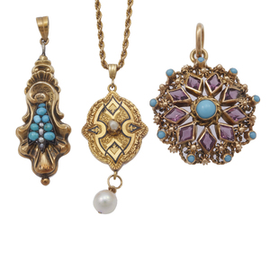 Collection of Turquoise, Pearl, Glass, Yellow Gold Pendants