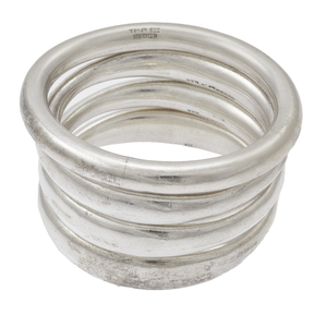 Collection of Four Mexican Sterling Silver Bangle Bracelets
