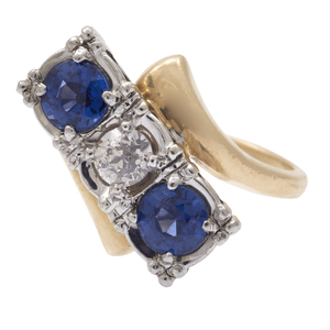 Diamond, Sapphire, 14k White and Yellow Gold Ring
