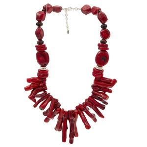 Group of Dyed Coral, Sterling Silver Necklaces