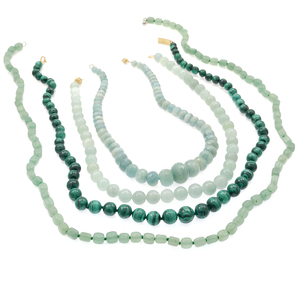 Group of Aquamarine, Chalcedony, Malachite Necklaces