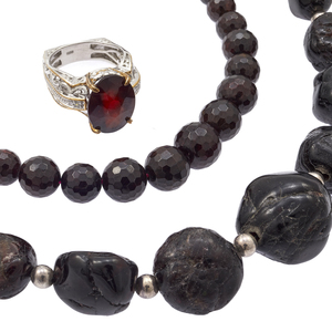 Group of Garnet, Sterling Silver Jewelry