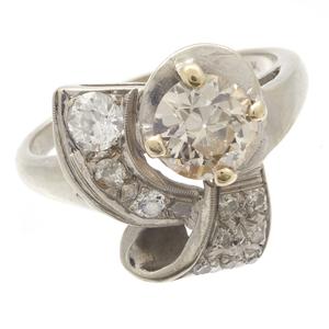 Retro Diamond, 14k White Gold Ring