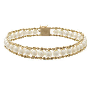 Cultured Pearl, 14k Yellow Gold Bracelet