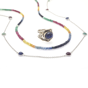 Collection of Emerald, Ruby, Sapphire Sterling Silver Jewelry
