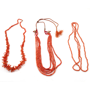 Group of Three Coral Necklaces