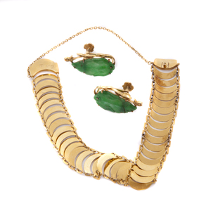 Pair of Jade Earrings with Yellow Gold Bracelet