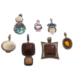 Group of Stone, Sterling Silver Pins and Pendants