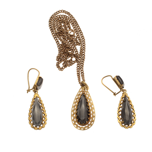 Onyx, 14K Yellow and Rose Gold Jewelry Suite