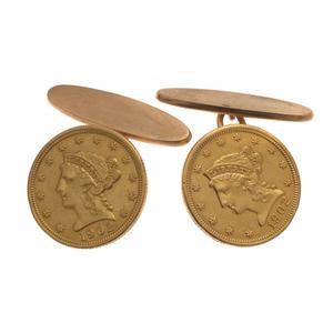 Pair of US Liberty Head Coin, 14k Cufflinks