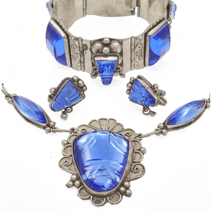 Mexican Glass, Sterling Silver Jewelry Suite
