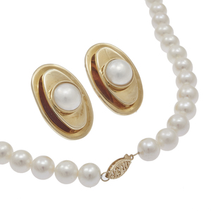 Cultured Pearl, 14k, Necklace and Pair of Earrings