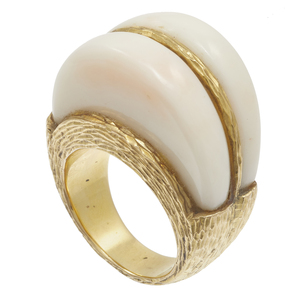 Mid-Century Modern Coral, 14k Yellow Gold Ring