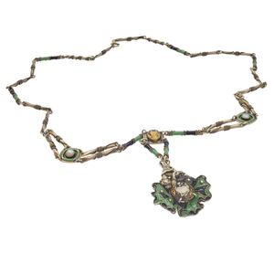 Art Deco Citrine, Cultured Pearl, Enamel Necklace