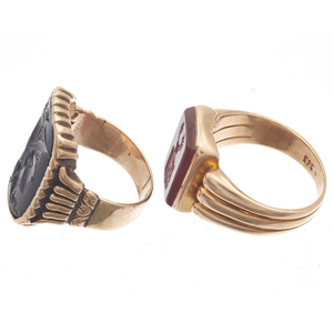 Collection of Two Victorian Intaglio Rose Gold Rings