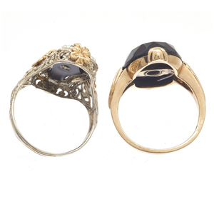 Collection of Two Art Deco Diamond, Onyx, Gold Rings