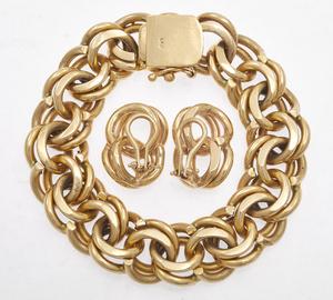 14k Yellow Gold Bracelet and Ear Clip Set