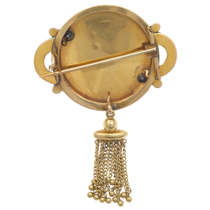 Victorian Seed Pearl, Enamel, 14k Yellow Gold Brooch
