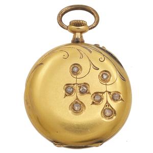 Victorian Diamond, 18k Yellow Gold Pocket Watch Case