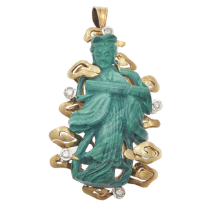 Diamond, Malachite, 14k Celestial Maiden Pin Pendant