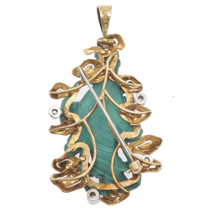 Diamond, Malachite, 14k Celestial Maiden Pin Pendant