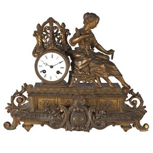French Gilt Bronze Mantel Clock
