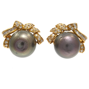 Pair of Tahitian Pearl, Diamond, 14k yellow Gold Earrings