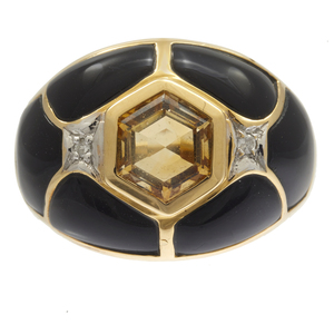 Diamond, Citrine, Black Onyx, 14k Yellow Gold Ring