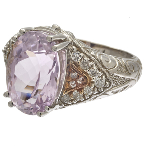 Kunzite, Diamond, 14k White Gold Ring