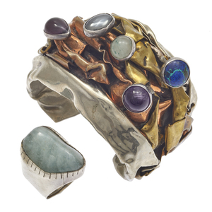 Rebecca Collins Aquamarine Ring with Brutalist Multi-Stone Bracelet