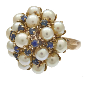 Sapphire, Cultured Pearl, 14k Bombe Ring