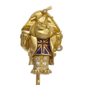 Diamond, Enamel, 18k Yellow Gold Figural Stickpin