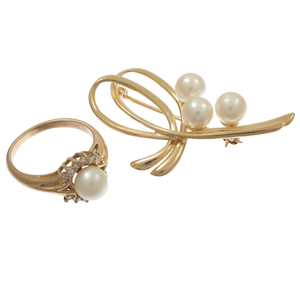 Diamond, Cultured Pearl Ring together with Pin