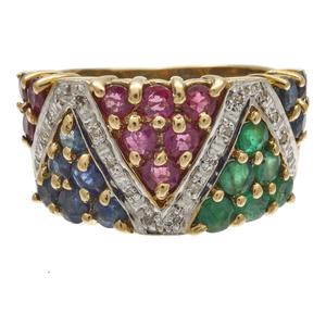 Diamond, Emerald, Ruby, Sapphire, 14k Ring