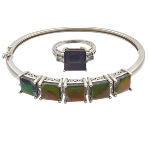 Ammolite Doublet, Topaz, Sterling Silver Jewelry Suite